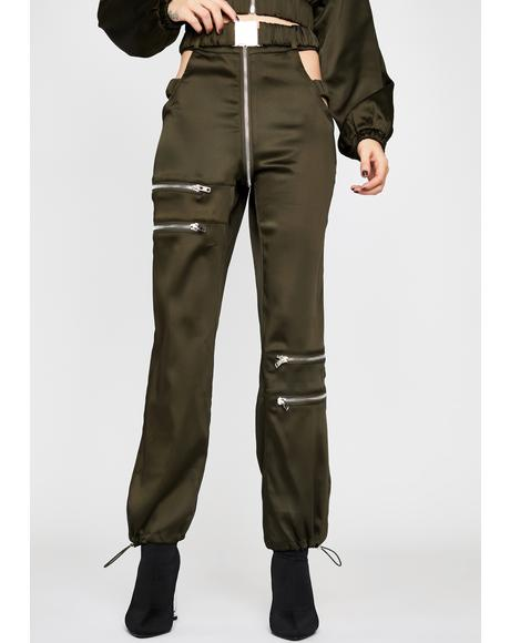Olive Put It In Sport Satin Joggers