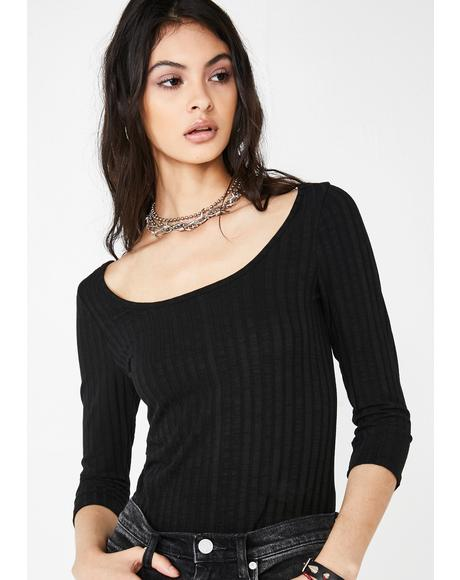 Dark Weirdo Wave Ribbed Top