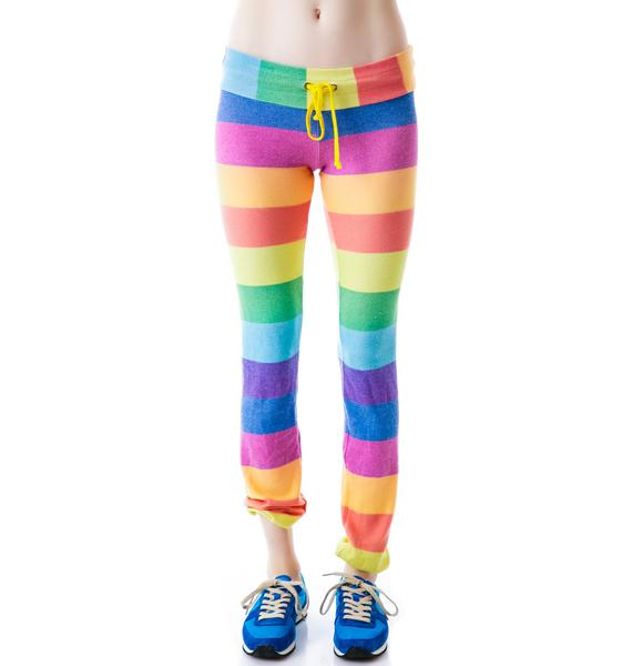 Wildfox Couture 70's Rainbow Malibu Skinny Sweats