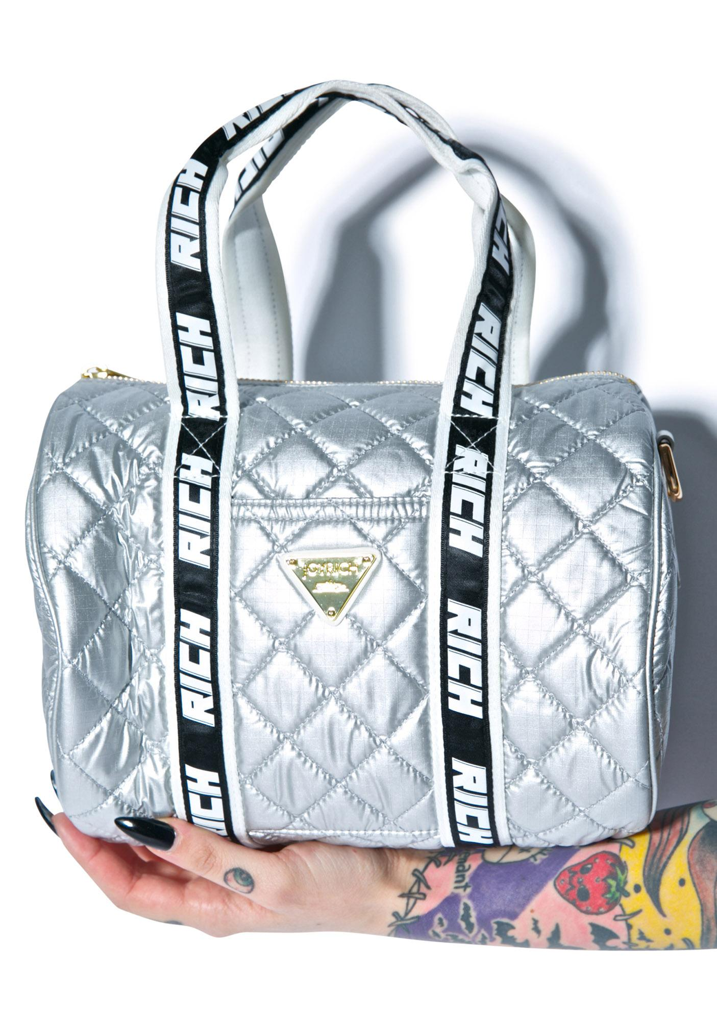 Joyrich Silver Sheen Shoulder Boston Bag