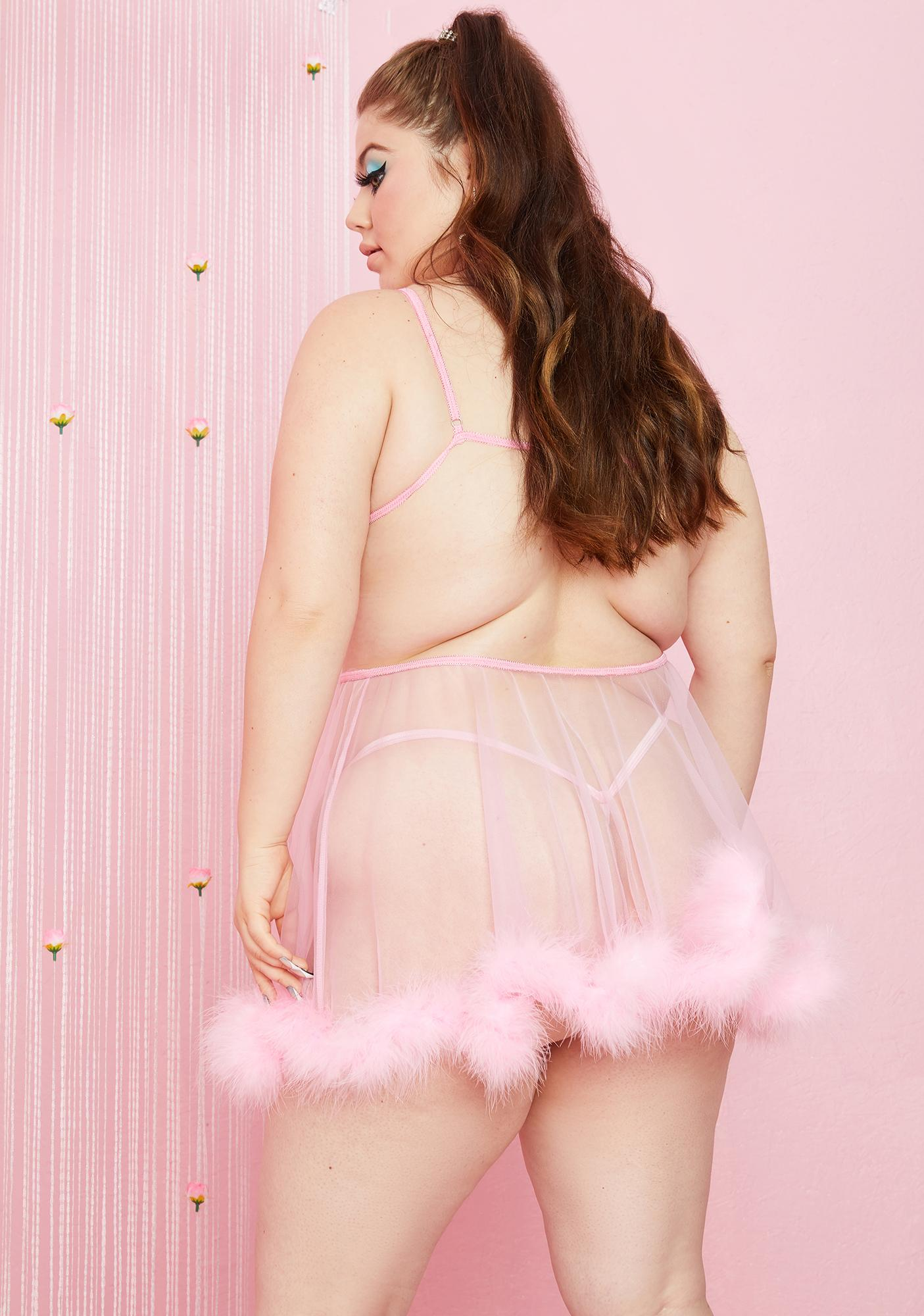 Sugar Thrillz Baby It's My Moment Marabou Three Piece Set