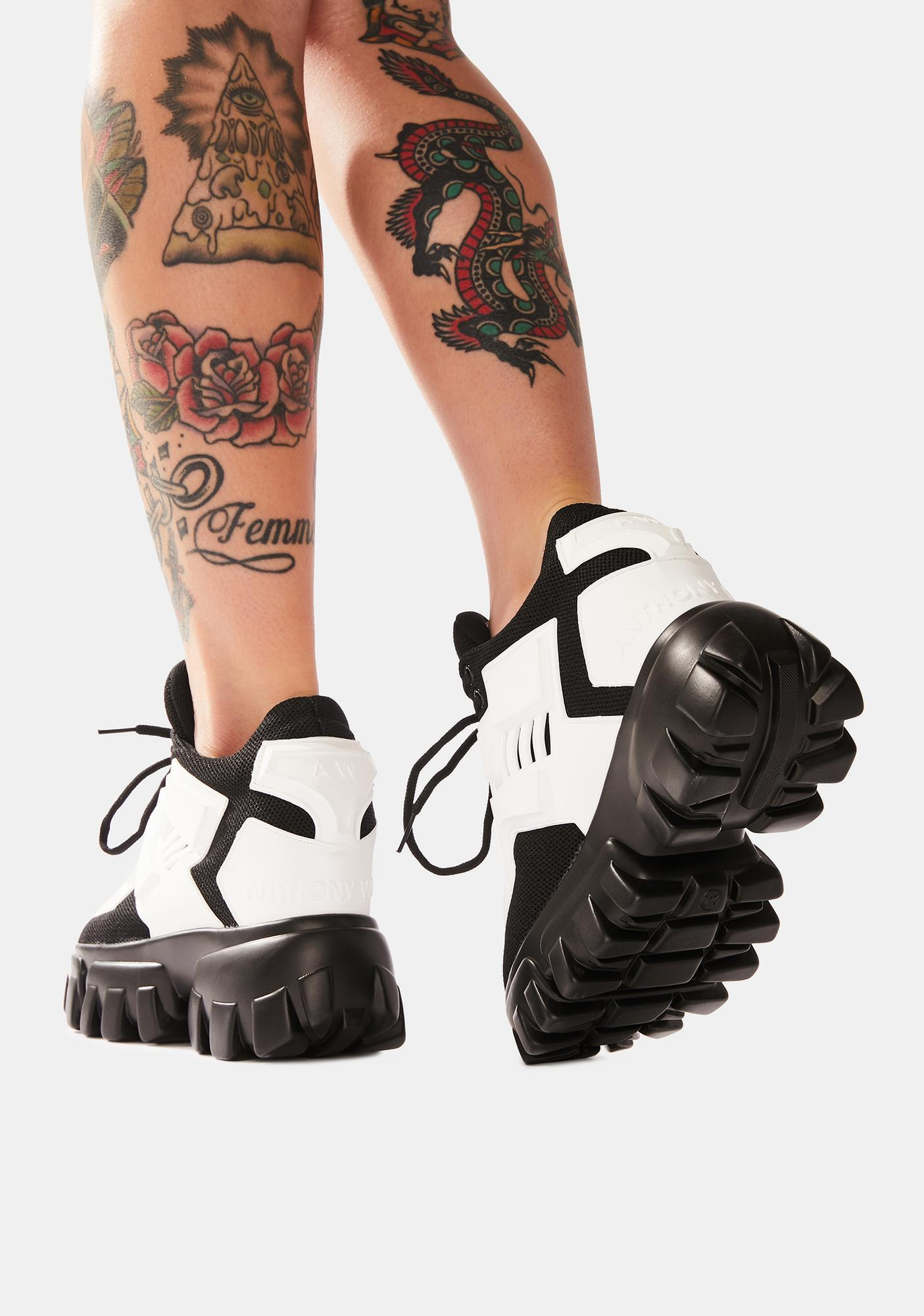 Anthony Wang White Psycho Candy Platform Sneakers