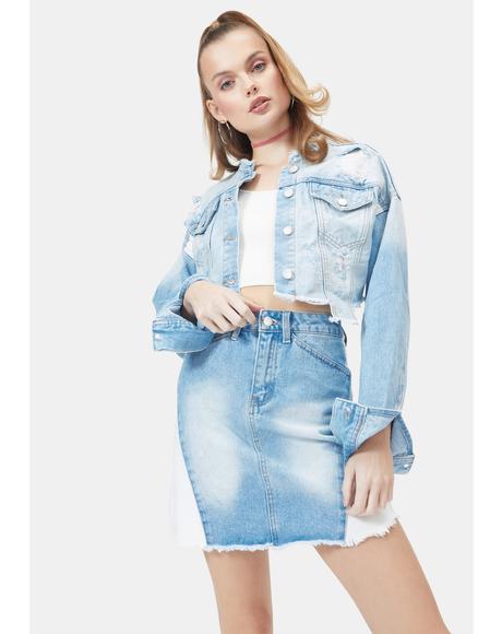 Doll Face Denim Skirt Set