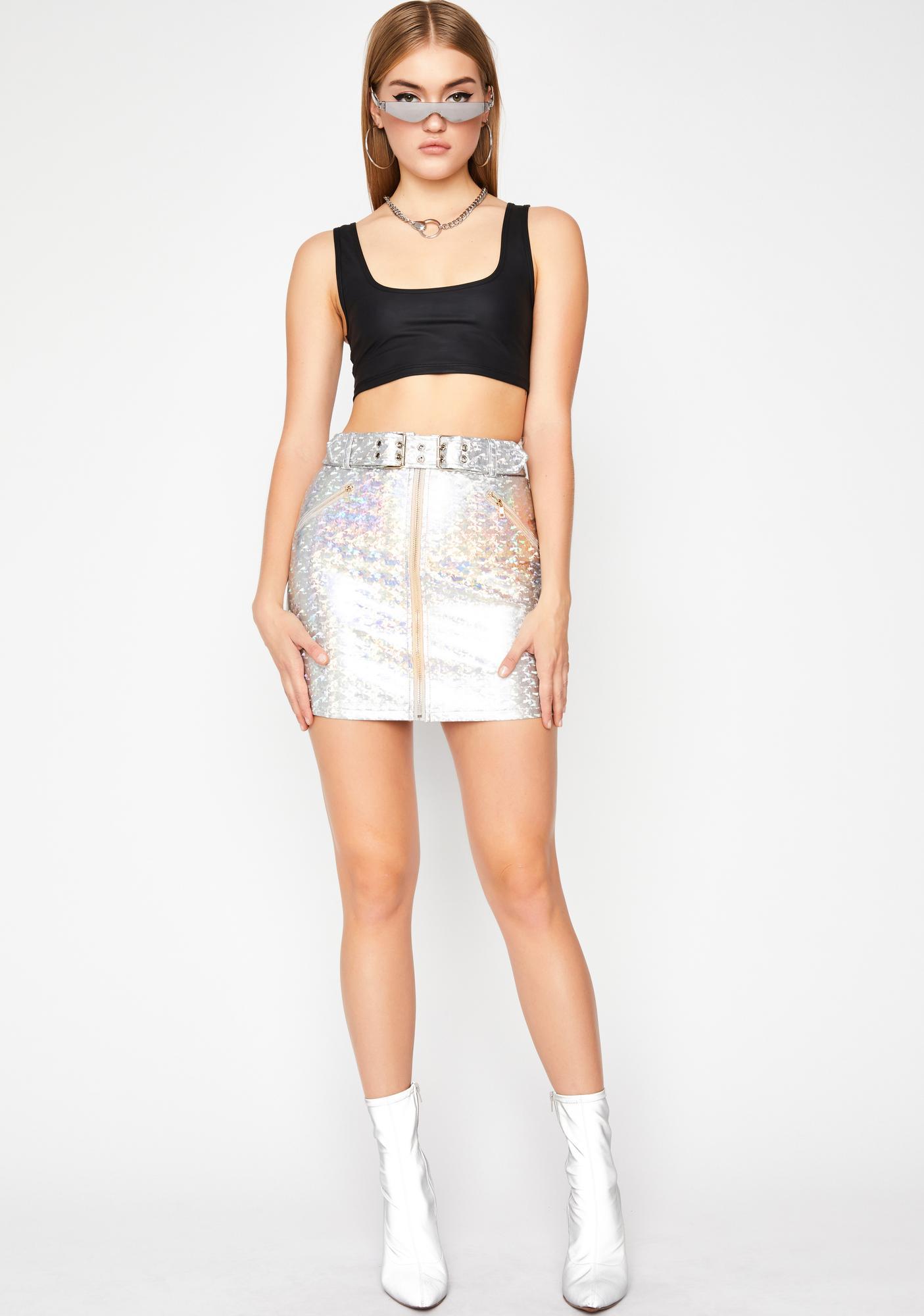 Pixxxel Perfect Holographic Skirt