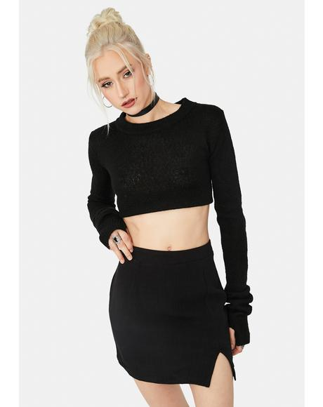 Bossy Title Side Front Slit Mini Skirt