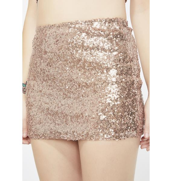 Champagne Fun Nights Sequin Skirt