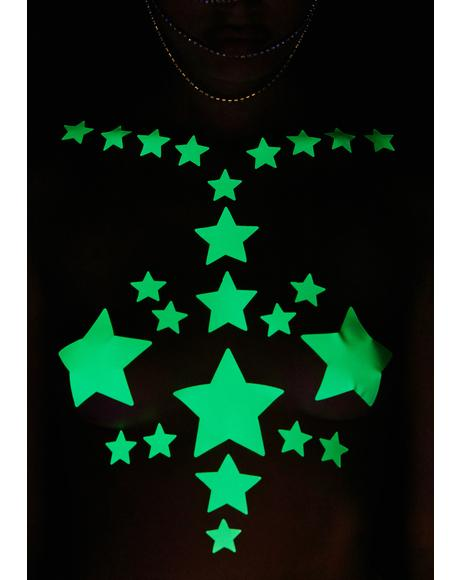 Glow In The Dark Reflective 35 Star Bundle Pasties