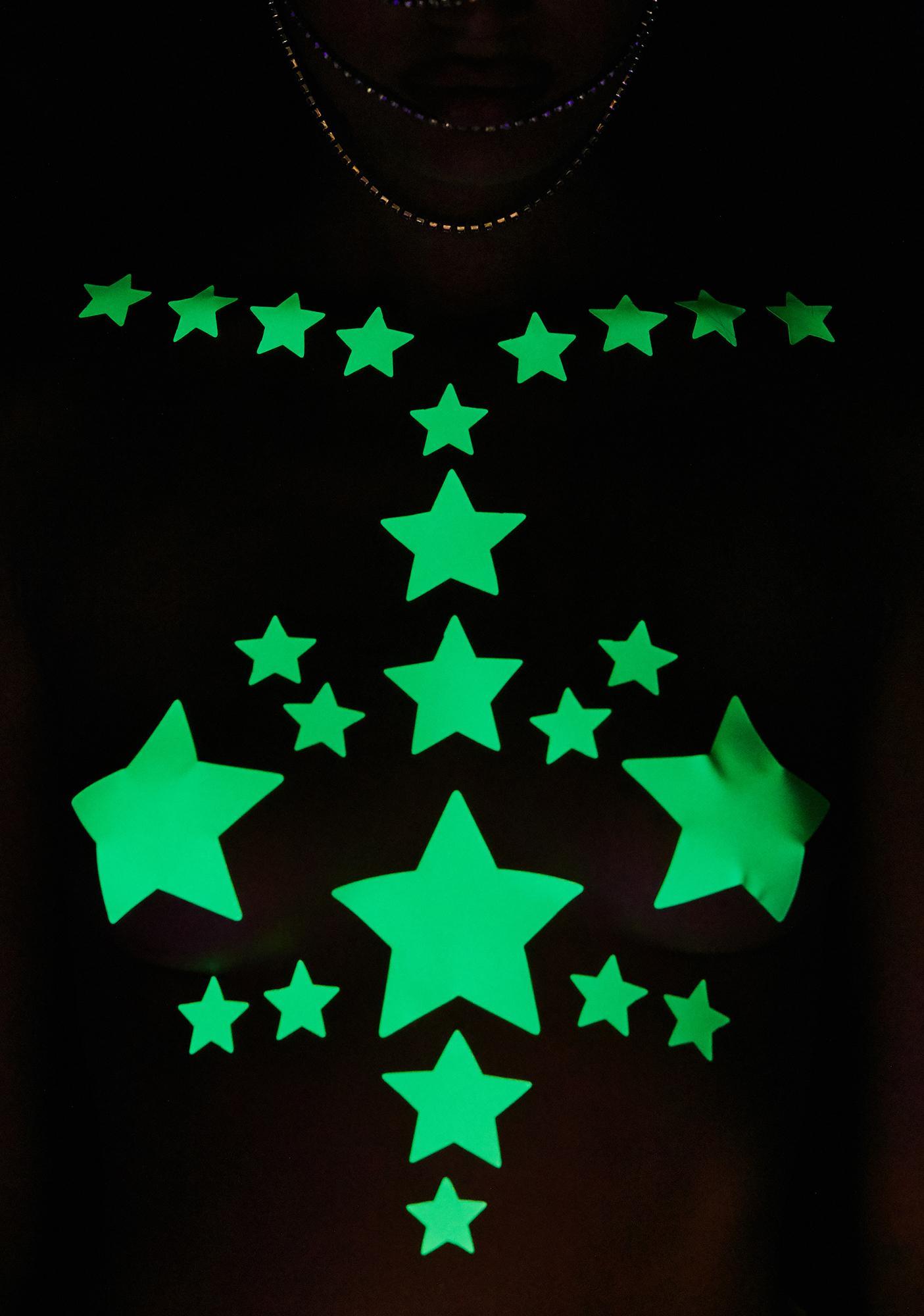 Neva Nude Glow In The Dark Reflective 35 Star Bundle Pasties