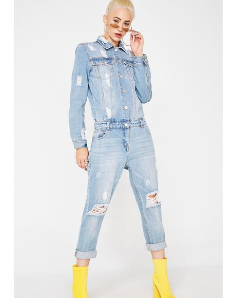 No Parking Denim Jumpsuit