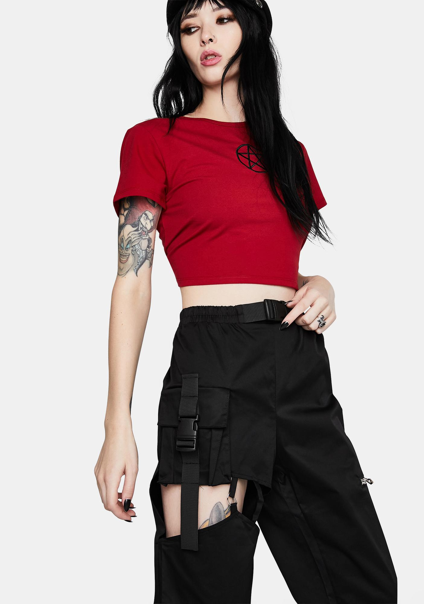 Dark In Love Punk Irregular Hollow Thigh Casual Trousers
