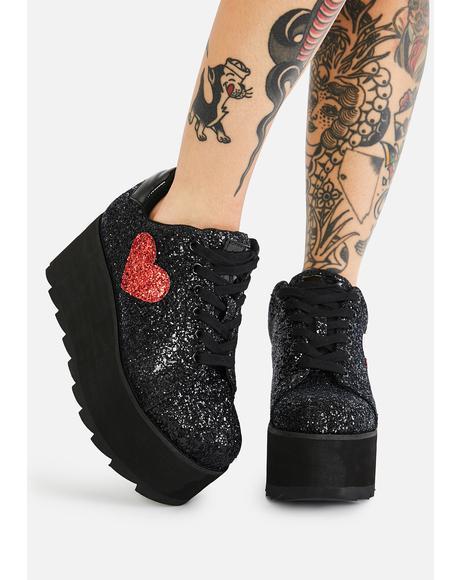 Black Lala Heart Glitter Platform Sneakers