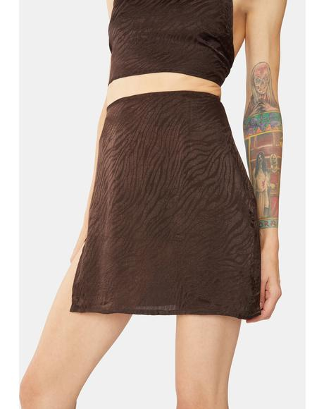 Brown Zebra Shenka Mini Skirt