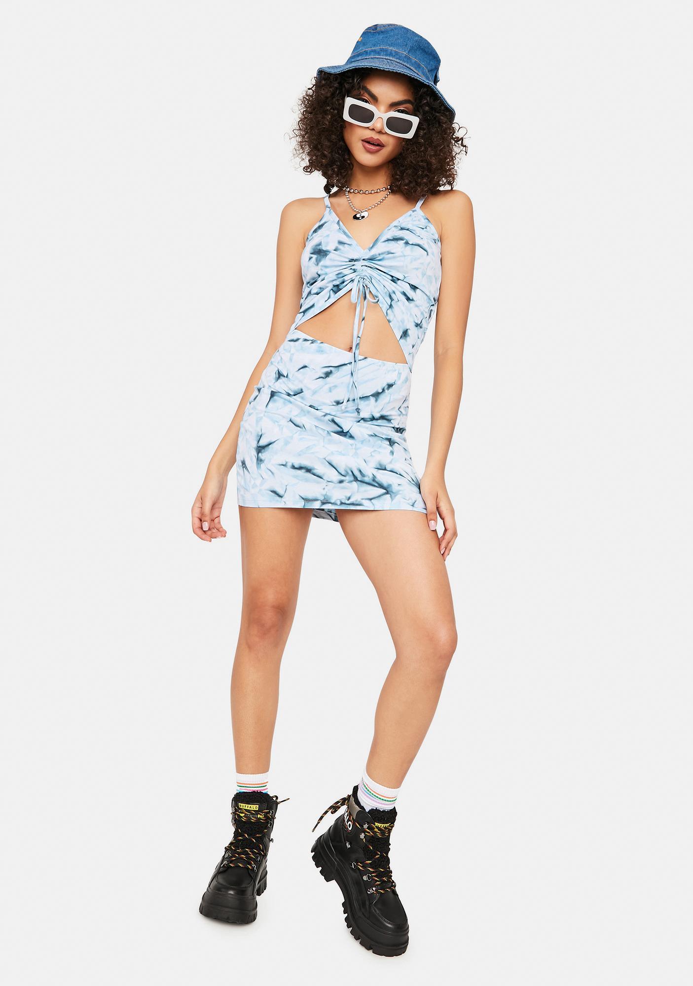 Cute Mistake Blue Tie Dye Ruched Mini Dress