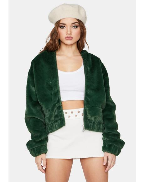 Forest Misty Petals Faux Fur Jacket