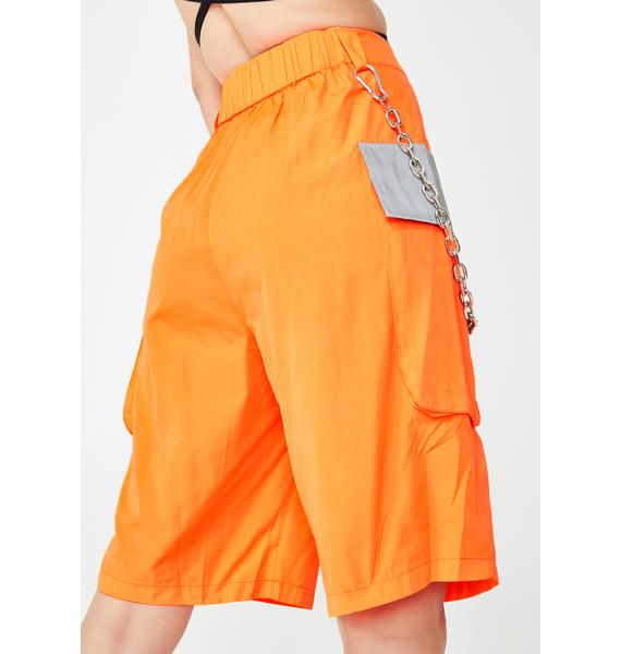 Jaded London Neon Orange Cargo Shorts With Reflective Detail