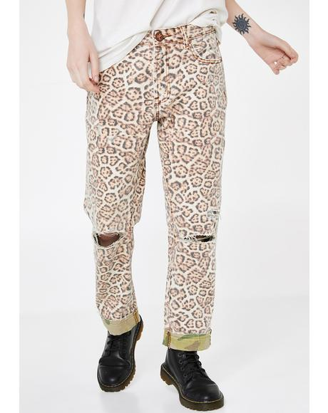 Leopard Truckers Straight Leg Jeans