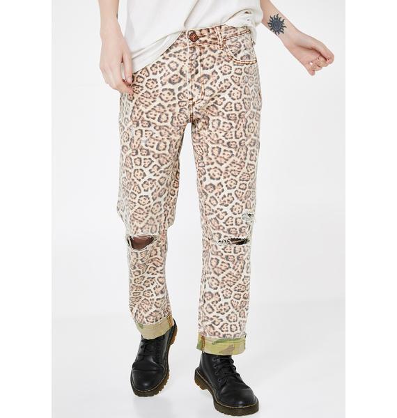 One Teaspoon Leopard Truckers Straight Leg Jeans