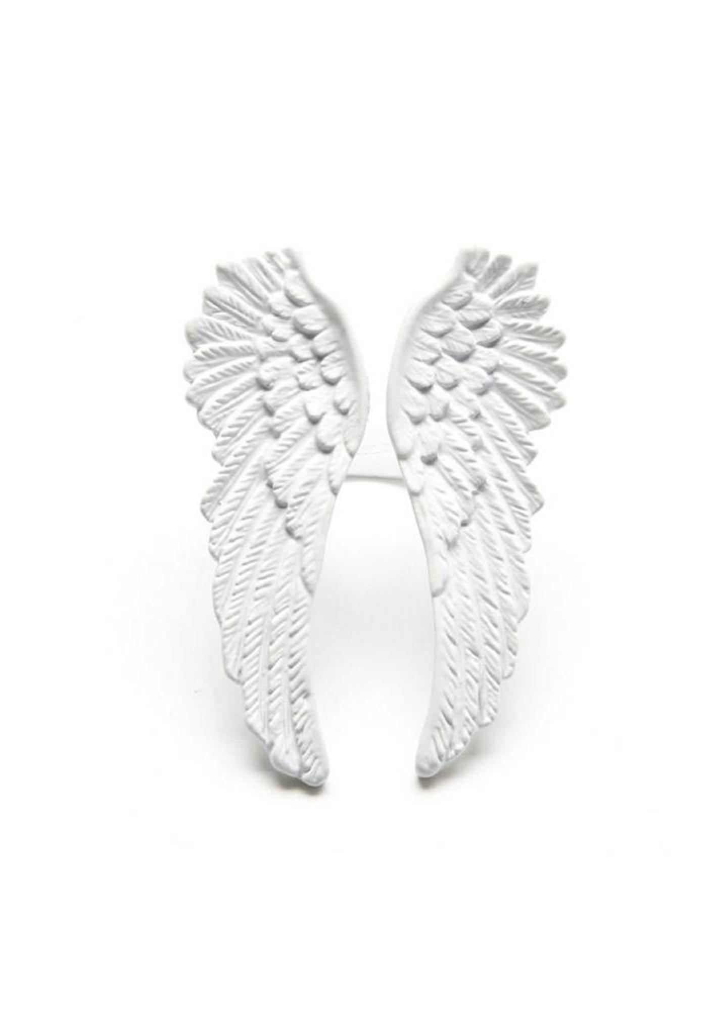 Wildfox Couture Matte White Angel Wing Ring