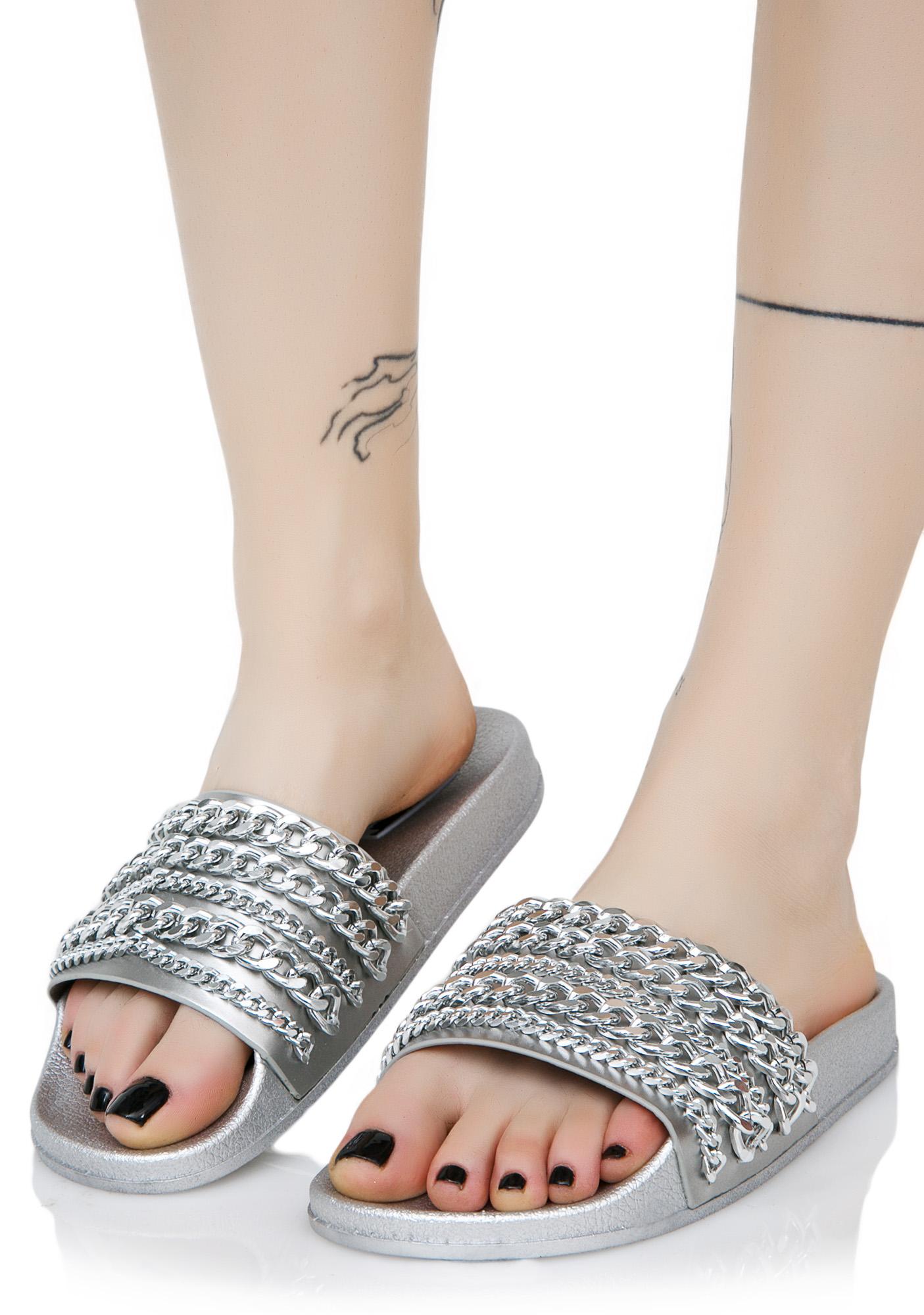 Silver Chain Slide Sandals