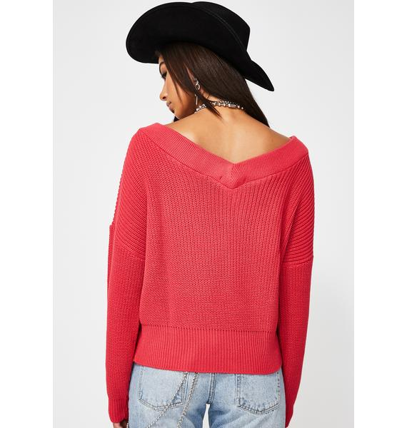 Glamorous Hot Coral Slouchy V-Neck Sweater