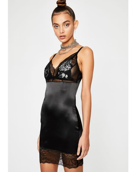 Midnight Straight Laced Mini Dress