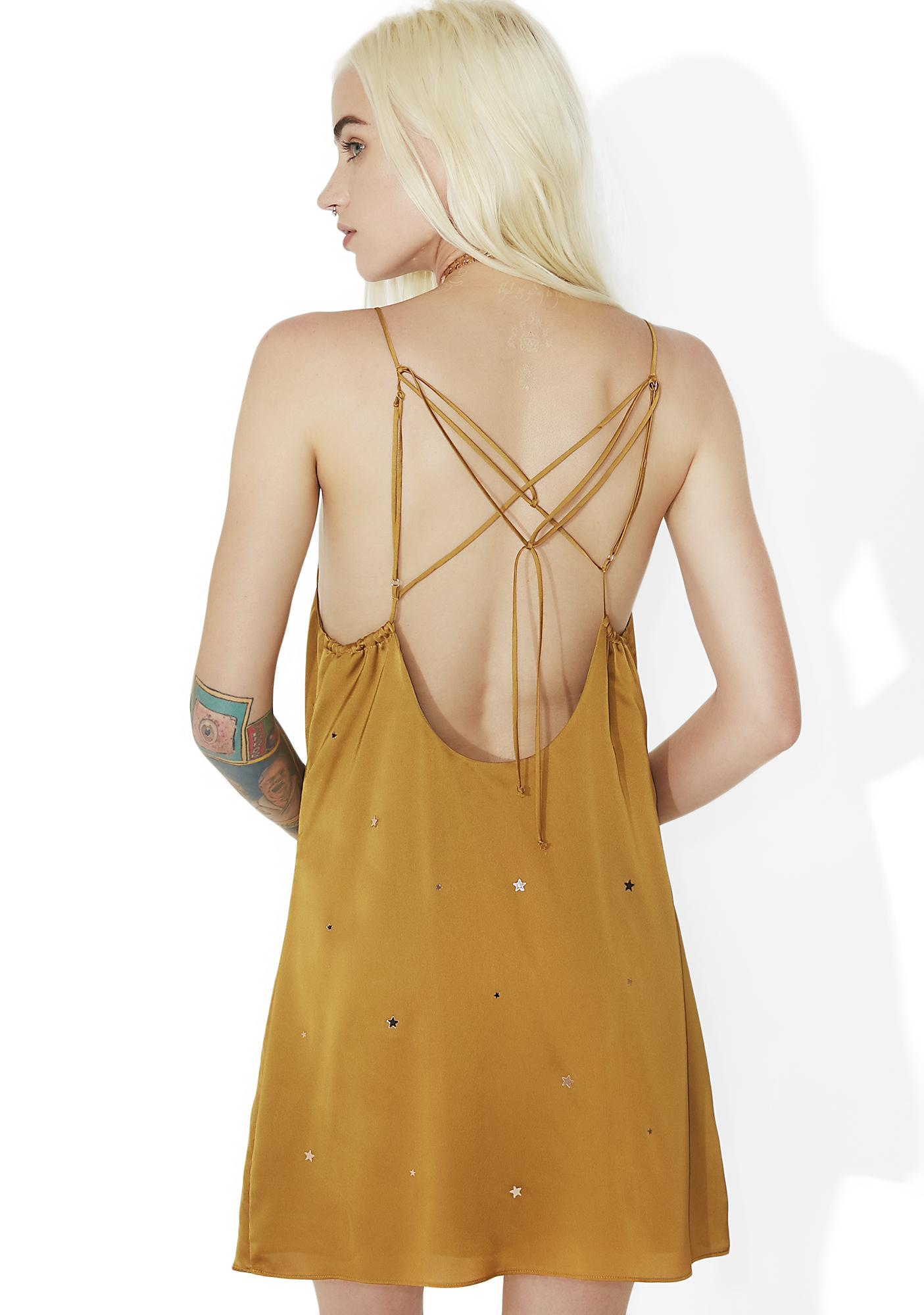 For Love & Lemons Olive Twinkle Slip Dress