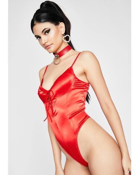 Hottie In Ur Dreams Satin Bodysuit