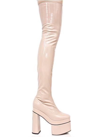 Nude Belladonna Thigh-High Boots