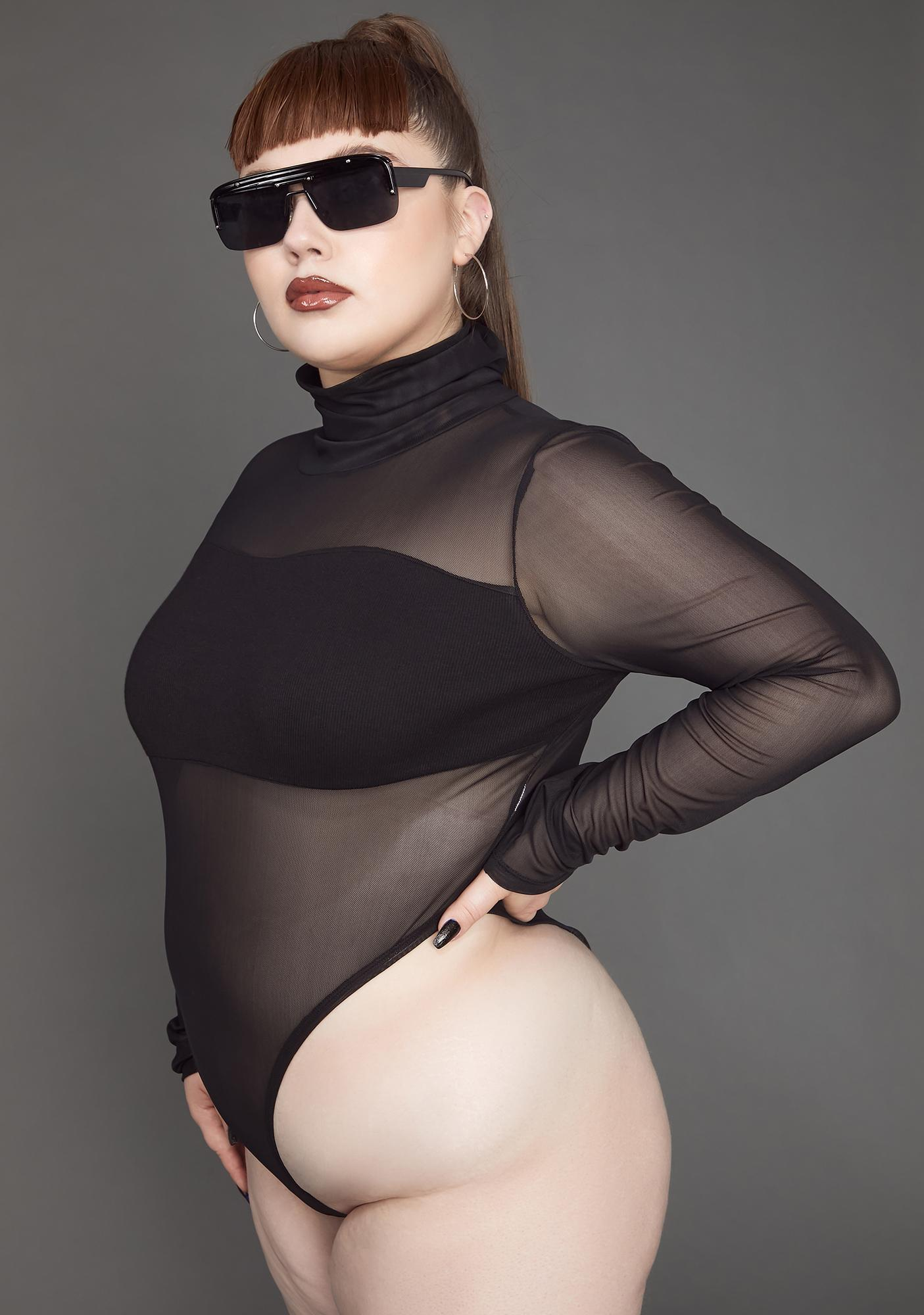 Poster Grl Can't Figure Me Out Mesh Bodysuit