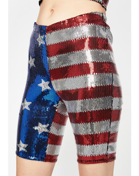 U.S Ayeee Sequin Biker Shorts
