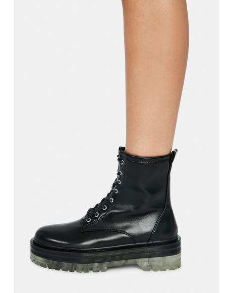 Noir Possy Lace Up Ankle Boots