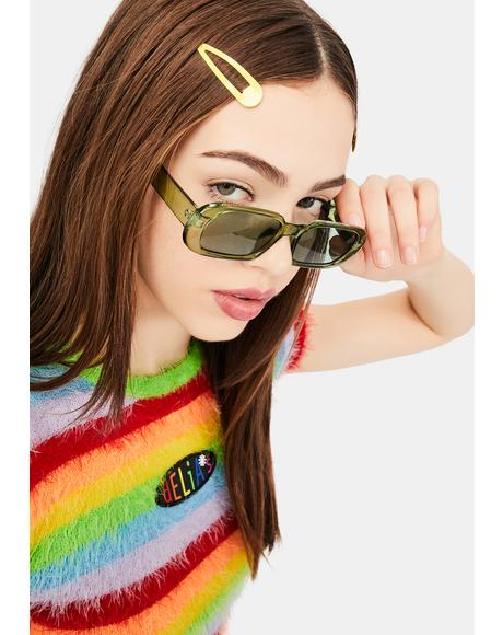 Olive Edge Of Seventeen Rectangle Sunglasses