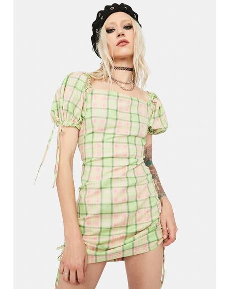 Memory Ruched Plaid Mini Dress