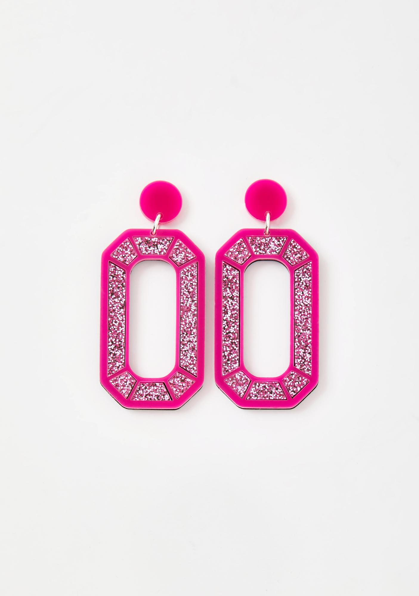 No Basic Bombshell Pink Mega Gem Earrings