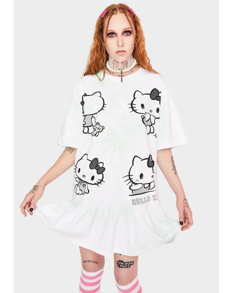 Hello Kitty Tie Dye Frill T-shirt Dress