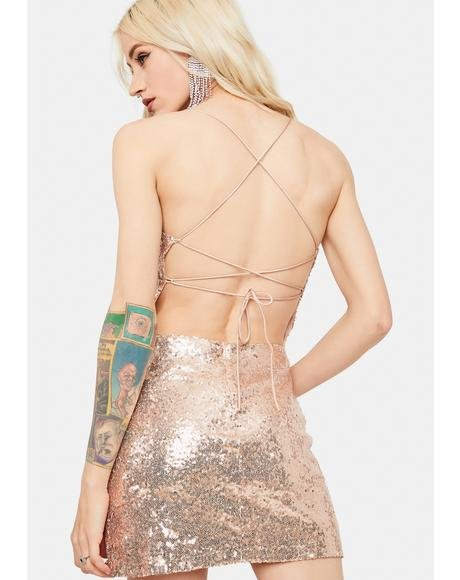 Gold Sequin Lace-Up Back Mini Dress
