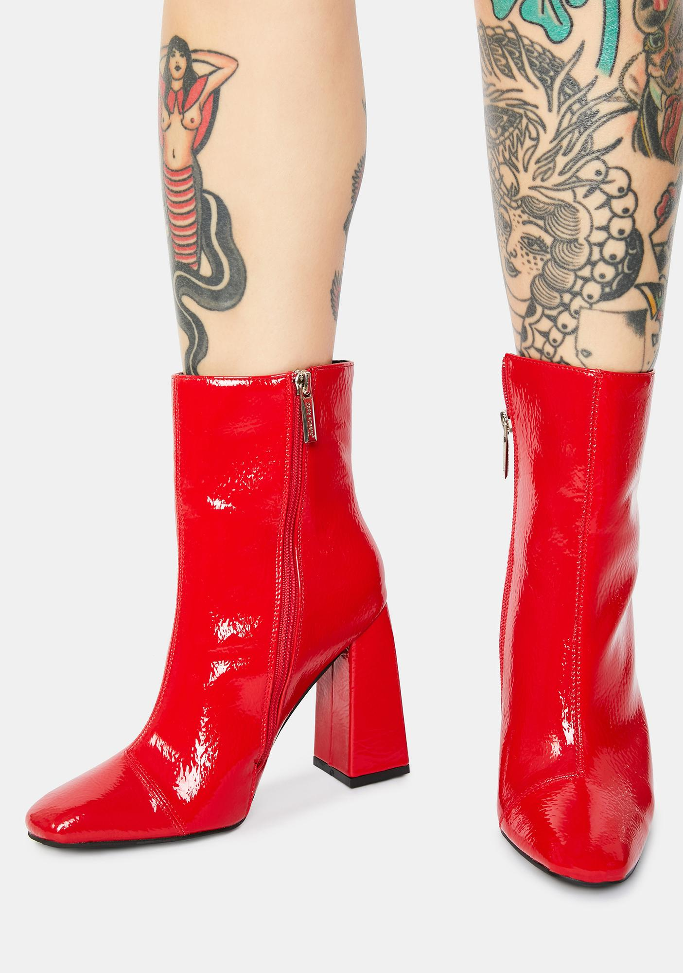 Patent Spicy Rude Attitude Ankle Boots