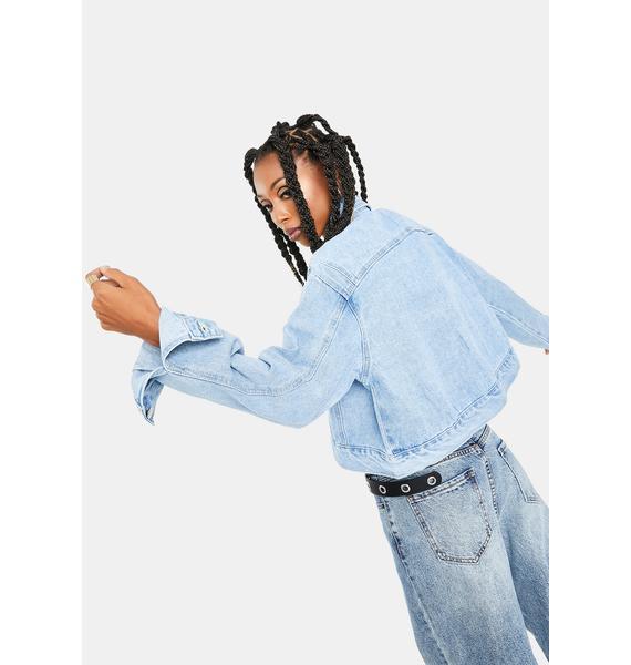 Momokrom Light Vintage Wash Cropped Denim Jacket