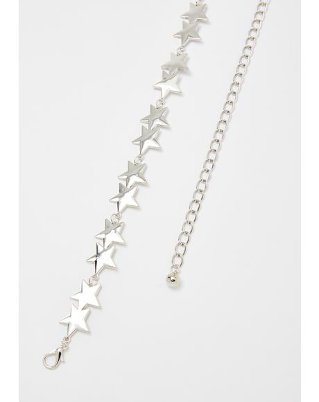 Chrome Shining Star Chain Belt