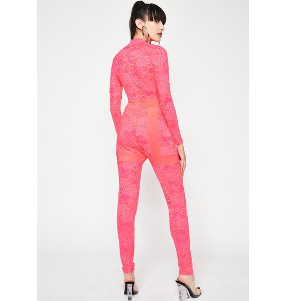 Coral Fifth Avenue Fever Lace Jumpsuit