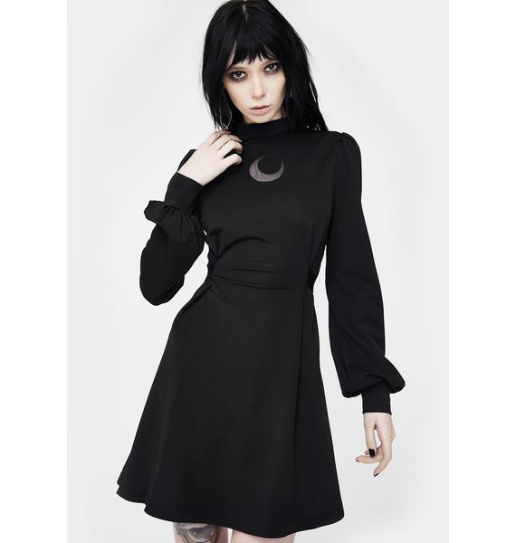 Punk Rave Moon High Collar Mini Dress