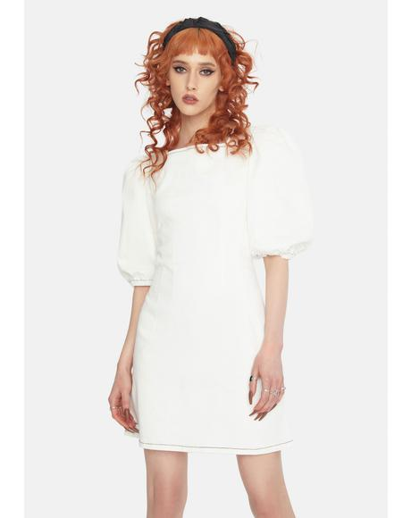 Off White Puff Sleeve Mini Dress