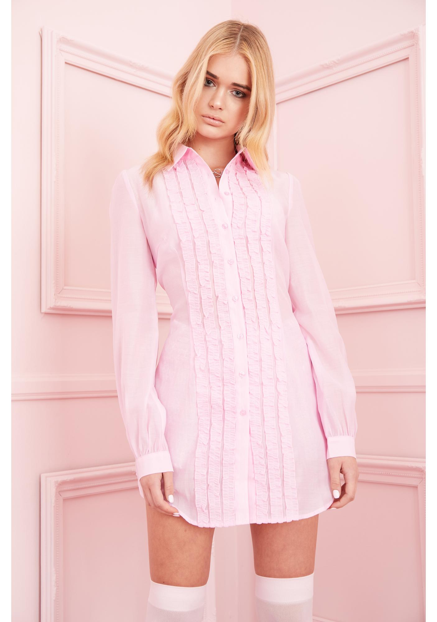 Sugar Thrillz Petty In Pink Shirt Dress