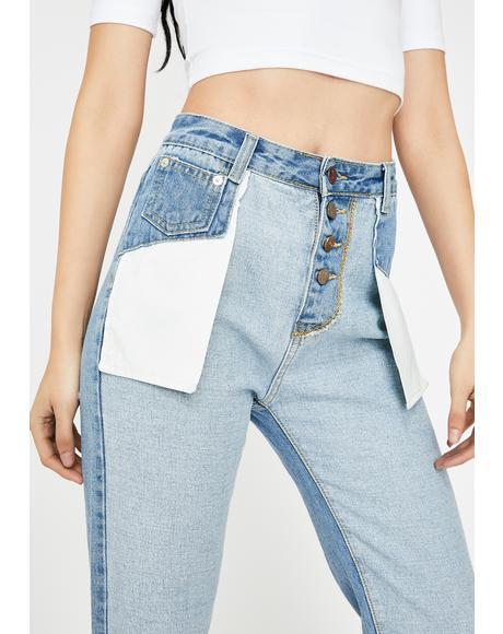 Zurie Reverse Denim Jeans