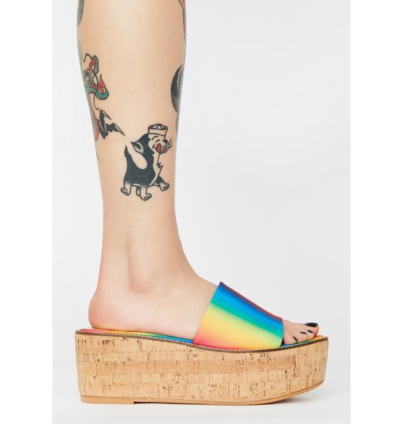 Lemon Drop by Privileged Rainbow Fiji Platform Sandals