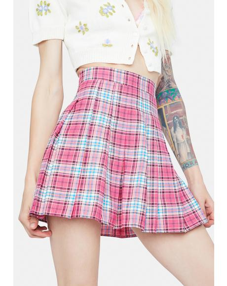 Make The First Move Plaid Pleated Skirt