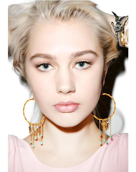 Feather Charm Blonde Leather Hoop Earrings