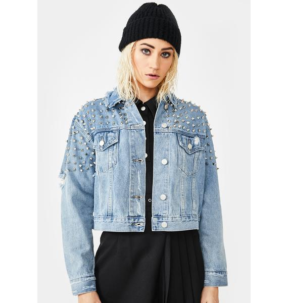 AZALEA WANG Grunge Star Studded Denim Jacket