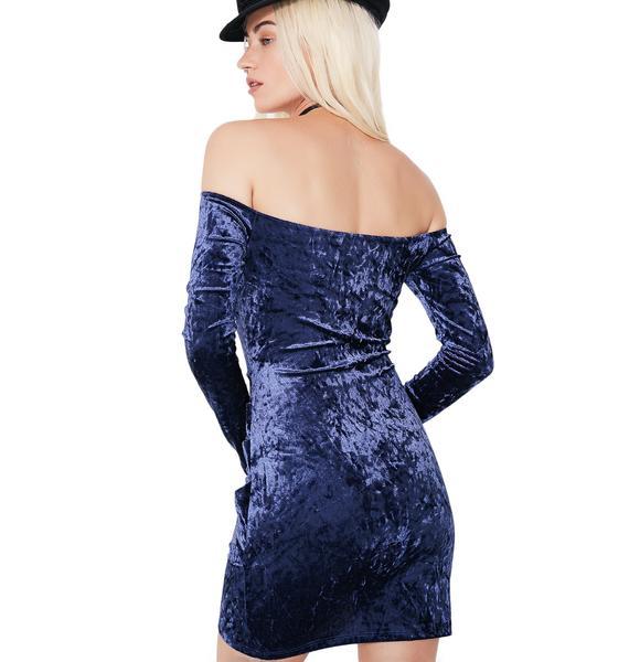 Navy Mystery Girl Velvet Off-Shoulder Dress
