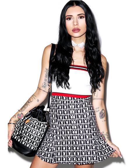 X Playboy Panel Pleated Skirt
